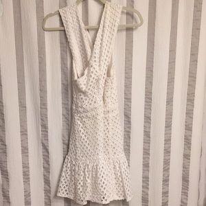 White keyhole Line & Dot dress